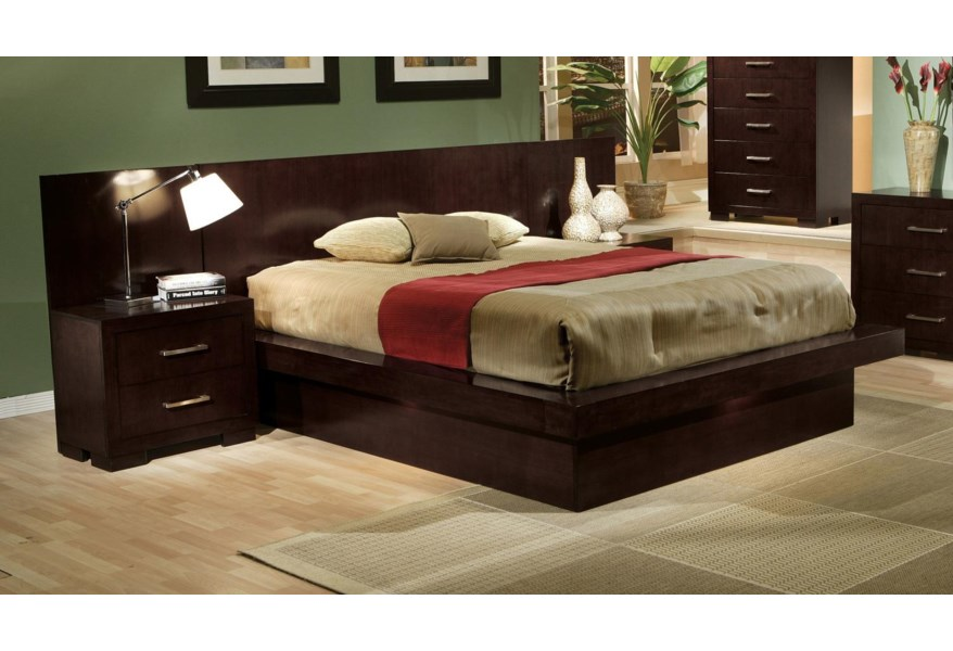 Coaster Jessica King Pier Platform Bed With Rail Seating And Lights Furniture Superstore Rochester Mn Pier Beds