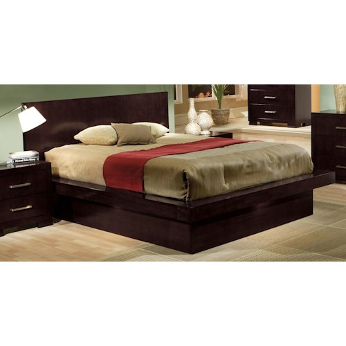 Coaster Jessica King Platform Bed with Rail Seating and Lights