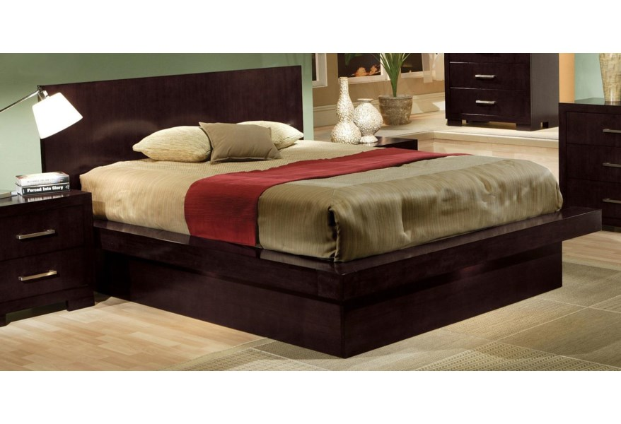 Coaster Jessica Queen Platform Bed With Rail Seating And Lights Rife S Home Furniture Platform Beds Low Profile Beds