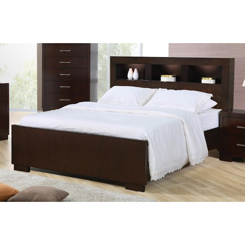Coaster Jessica Queen Contemporary Bed with Storage Headboard and Built in Lighting