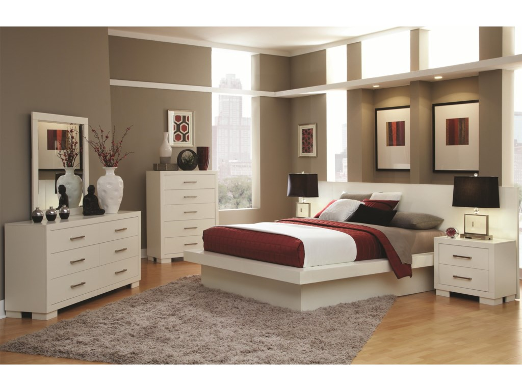 Shown in Room Setting with Dresser, Mirror, Bed and Nightstands