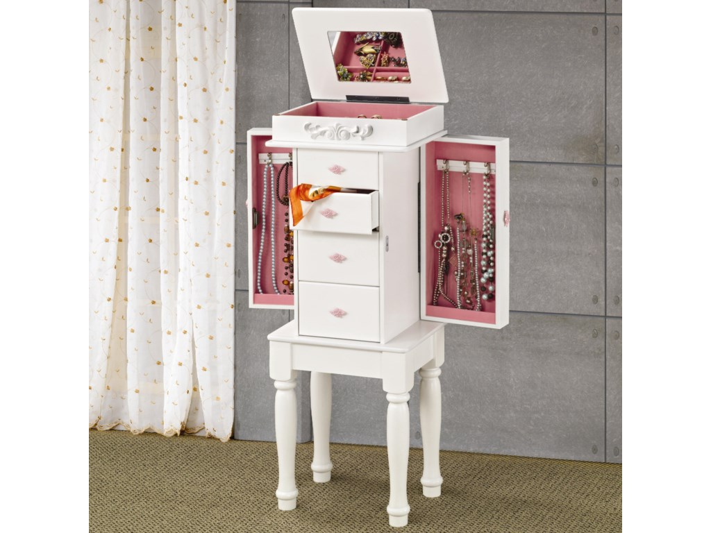 . Jewelry Armoires White Jewelry Armoire with Pink Hardware by Coaster at  Rotmans