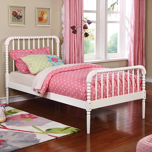 Coaster Jones Twin Bed with Bobbin Motif