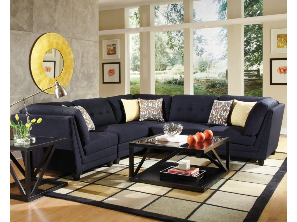 Keaton transitional five piece sectional sofa with tufting by coaster