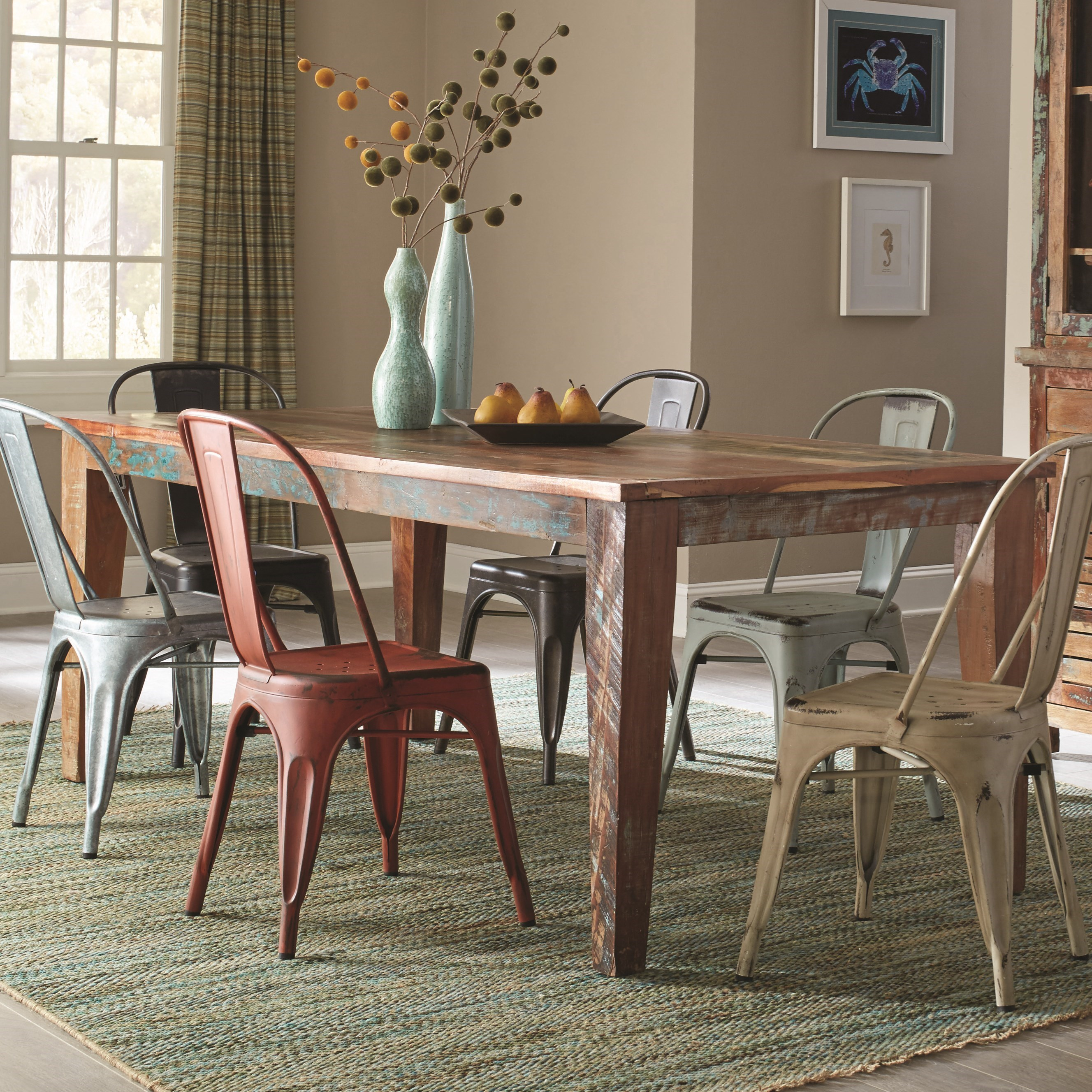 coaster keller rustic rectangular dining table with scrubbed paint look