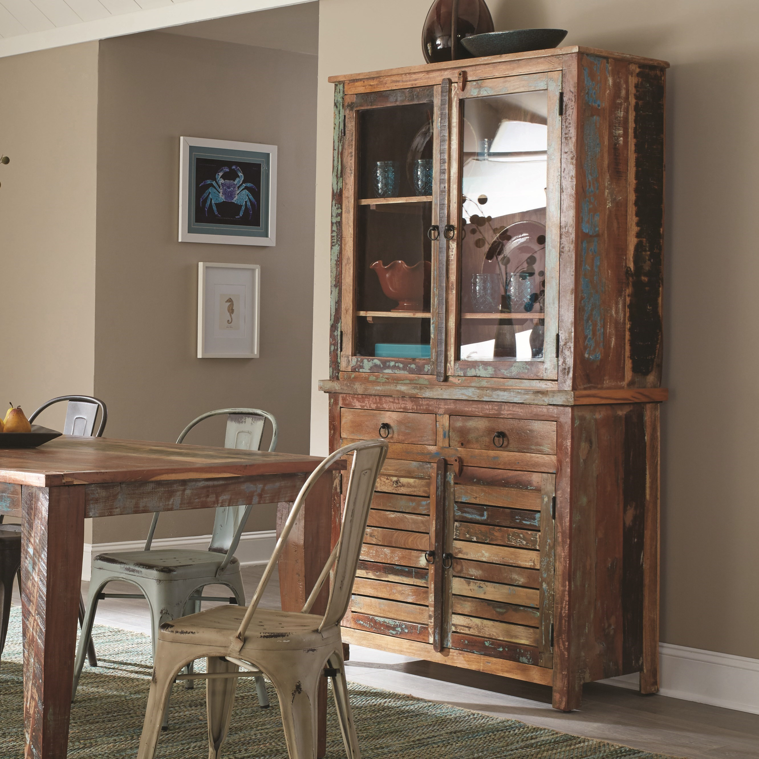 Coaster Keller Rustic China Cabinet with Louvered Doors - Value ...