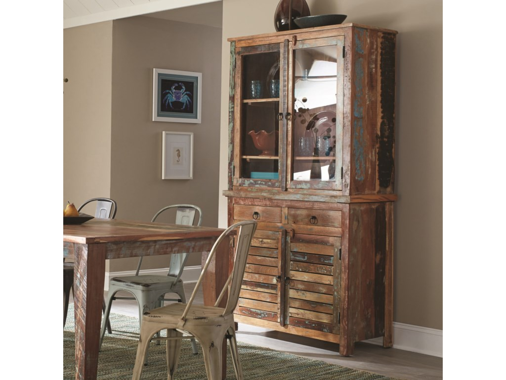 Coaster Keller 180174 Rustic China Cabinet With Louvered Doors