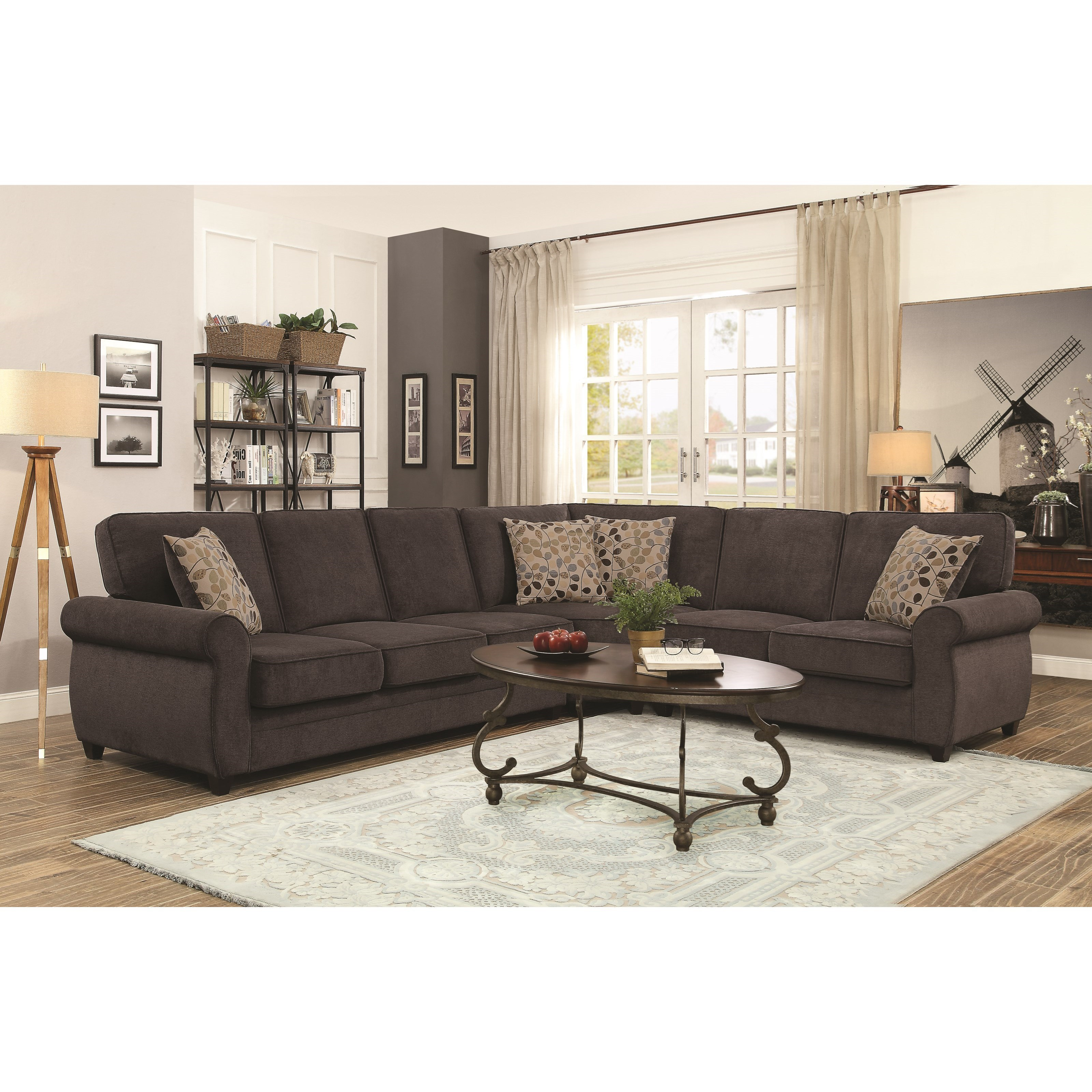Coaster Kendrick Sectional With Memory Foam Sleeper   Adcock Furniture   Sectional  Sofas
