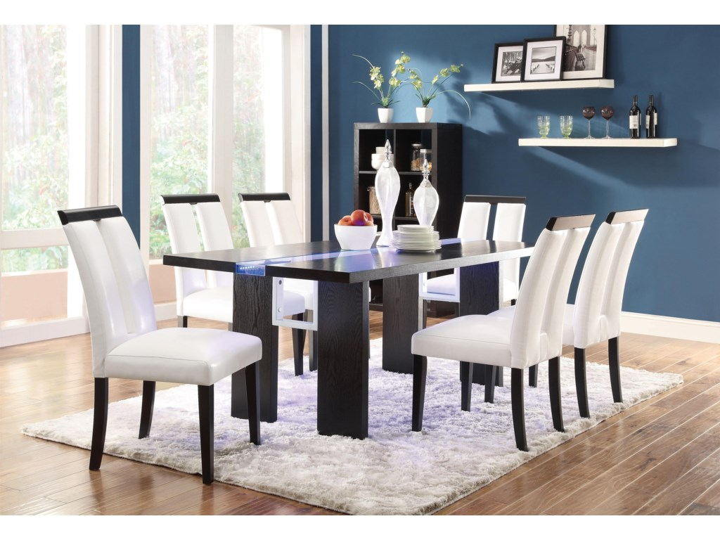Coaster Kenneth 7 Piece Set With Led Lit Dining Table Dunk