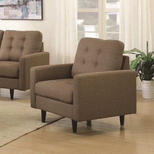 Home Living Room Furniture Upholstered Chairs Coaster Kesson Chair With Mid Century Modern Design