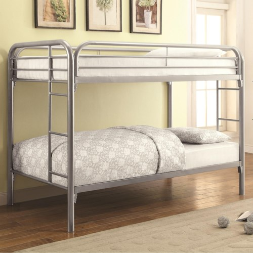 Coaster Metal Beds Twin Over Twin Bunk Bed With Built In Ladders
