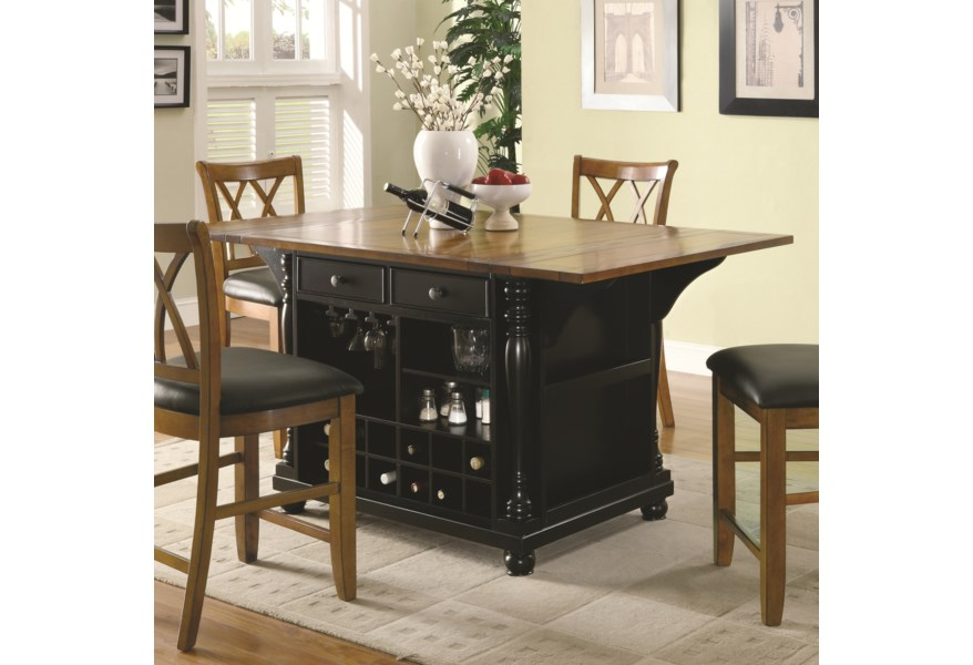 Kitchen Carts Two-Tone Kitchen Island with Drop Leaves by Coaster at Lapeer  Furniture & Mattress Center