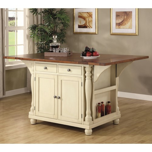 coaster kitchen carts two tone kitchen island with drop leaves - Kitchen Carts
