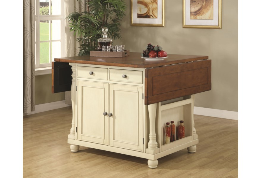 Coaster Kitchen Carts Two Tone Kitchen Island With Drop Leaves Value City Furniture Kitchen Islands