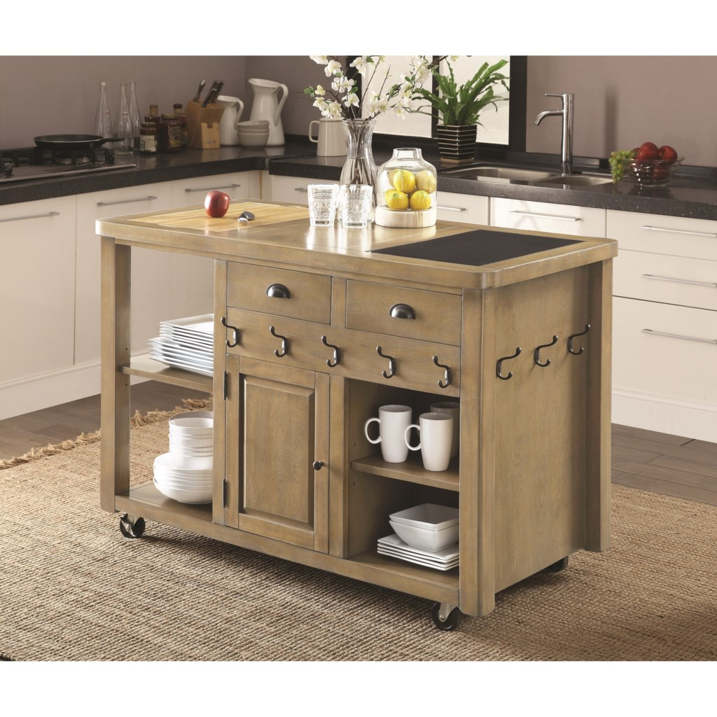 coaster kitchen carts weathered kitchen island with casters - del