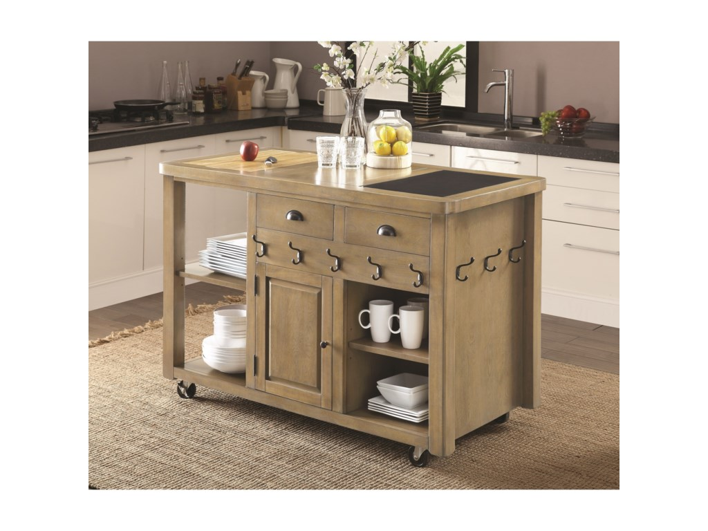 Coaster Kitchen Carts Weathered Kitchen Island with Casters - Del ...