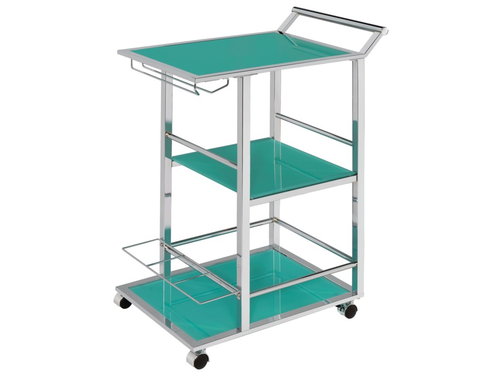 Coaster Kitchen Carts Contemporary Serving Cart with Wine Storage ...