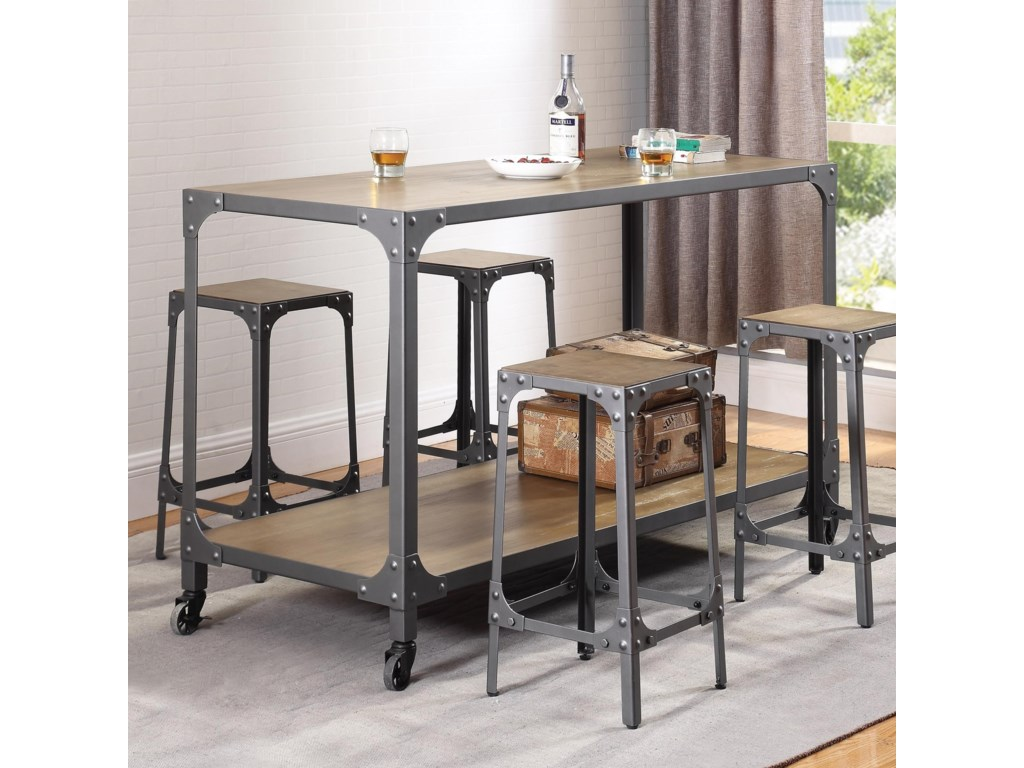 Coaster Kitchen Carts Rustic Kitchen Island and Stools - Adcock ...