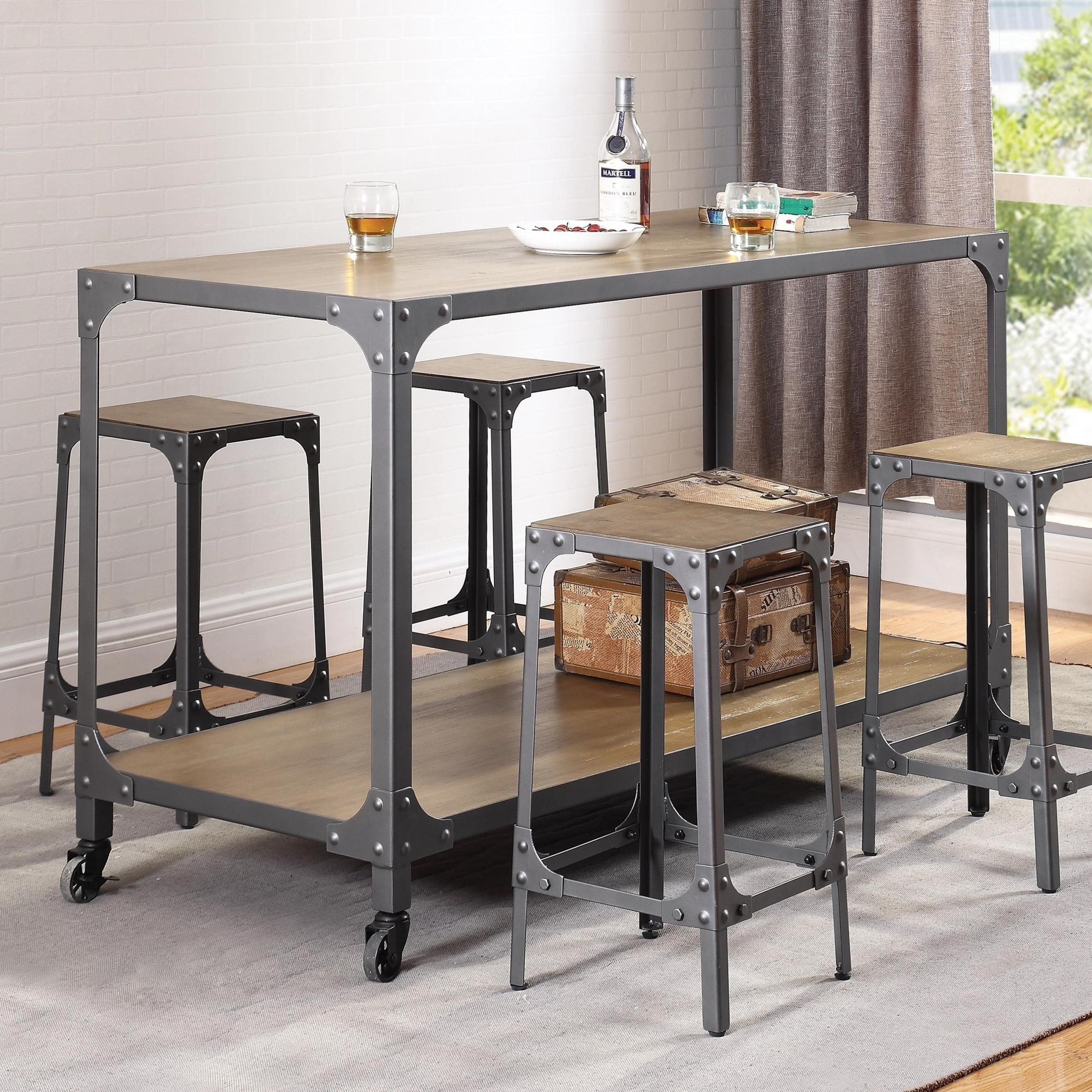 Coaster Kitchen Carts Rustic Kitchen Island And Stools