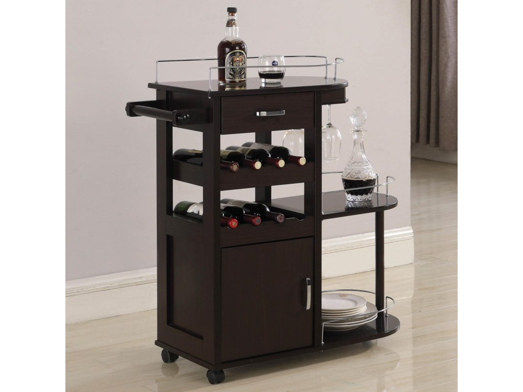 Coaster Kitchen Carts Contemporary Serving Cart With Wine Storage