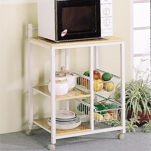 Coaster Kitchen Carts White Serving Cart with 3 Shelves & 2 Storage Compartments