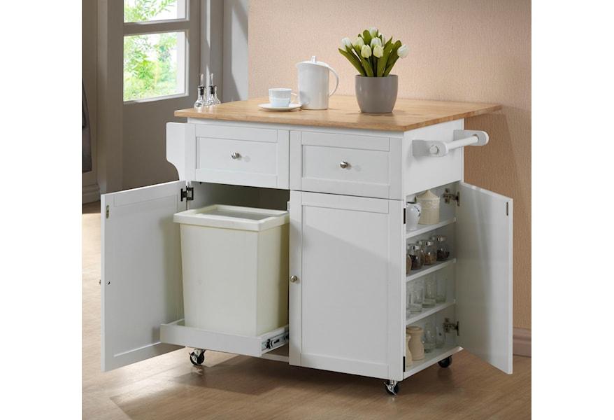 Coaster Kitchen Carts Kitchen Cart W Leaf Trash Compartment Spice Rack Rife S Home Furniture Kitchen Islands