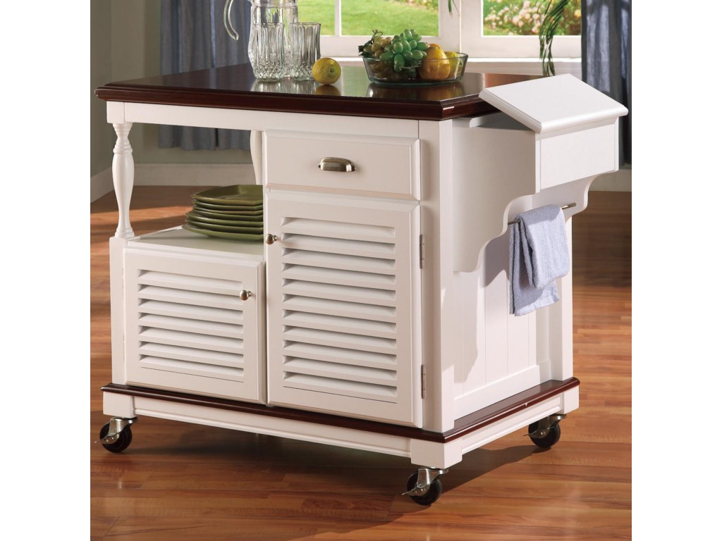 kitchen carts cherry topped kitchen cart by coaster - Kitchen Carts