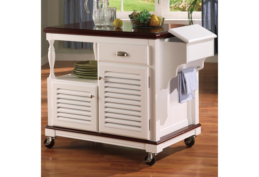 Kitchen Carts Cherry Topped Kitchen Cart by Coaster at Dunk & Bright  Furniture