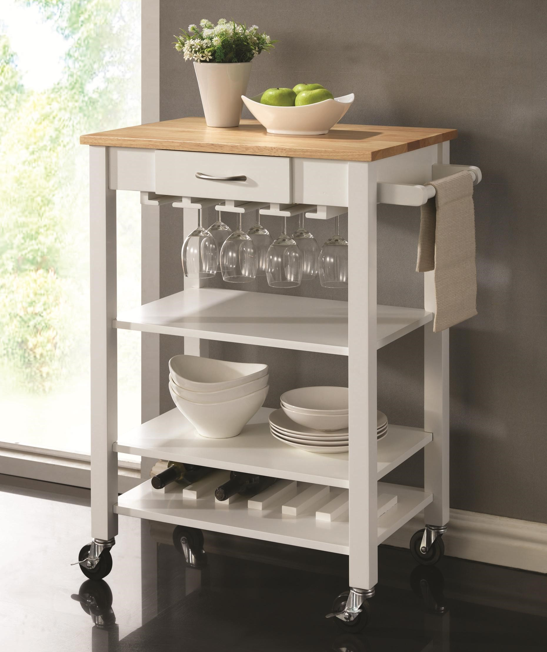 Superbe Coaster Kitchen Carts White/Natural Kitchen Cart With Butcher Block Top