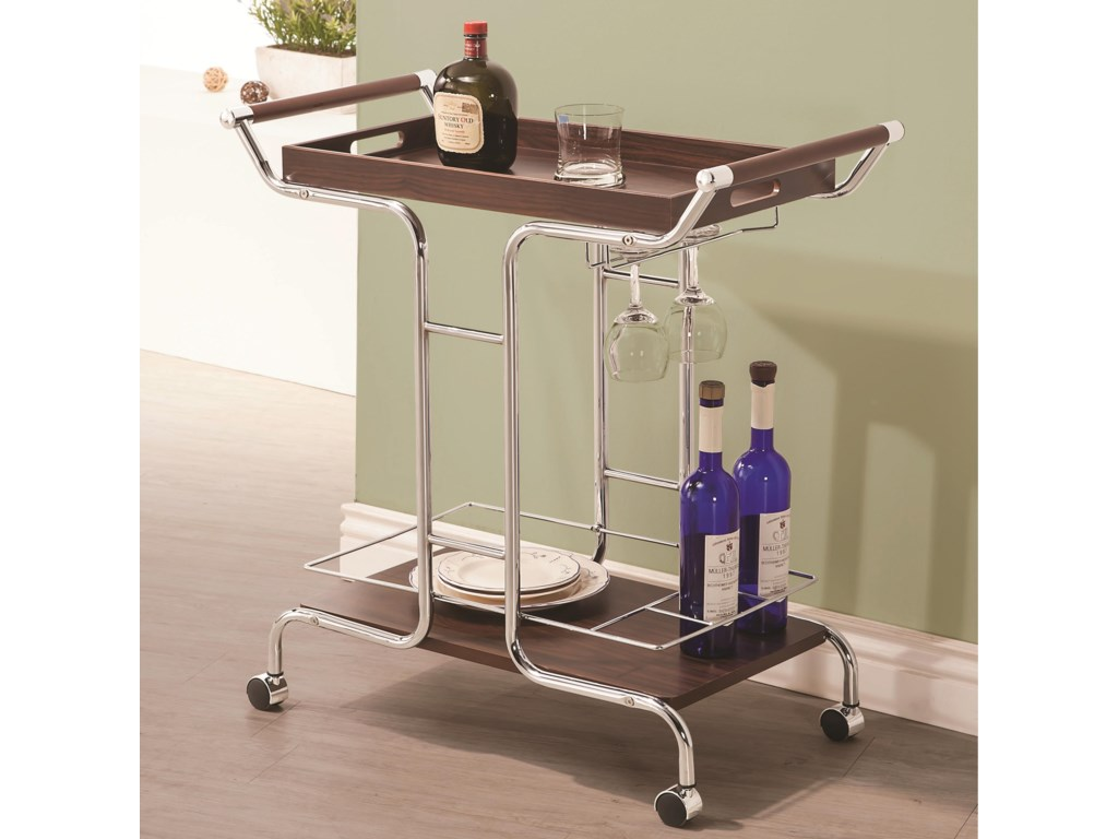Coaster Kitchen Carts 910065 Contemporary Serving Cart with Stemware ...
