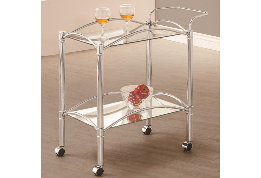 Coaster Kitchen Carts Chrome Serving Cart With Mirrored Bottom Shelf And Casters Prime Brothers Furniture Bar Serving Carts