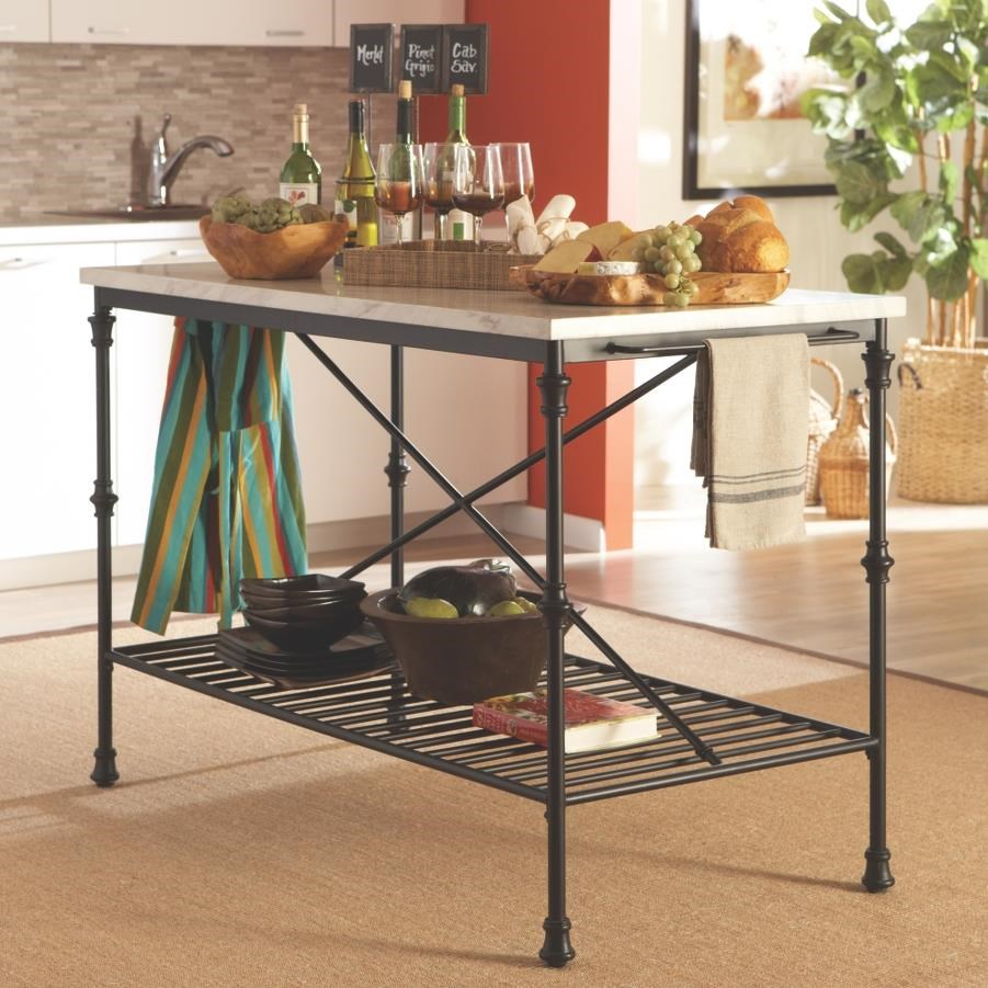Kitchen Carts Kitchen Island With Faux Marble Top By Coaster