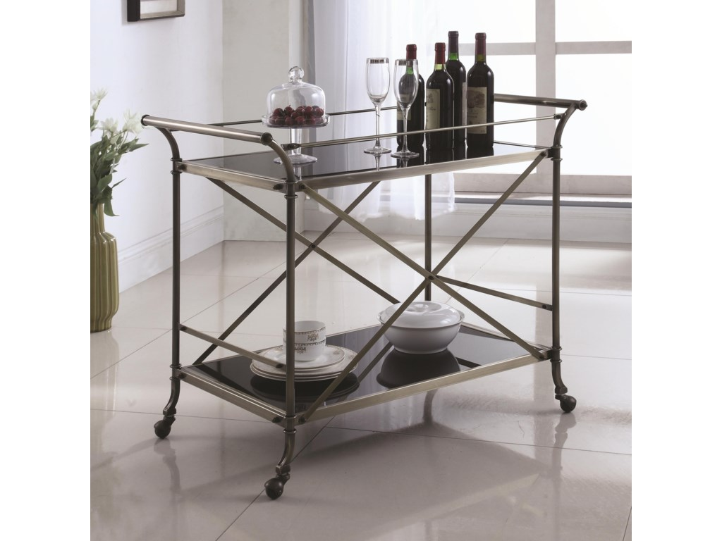 Coaster Kitchen Carts Metal Serving Cart with Glass Top | Value City ...