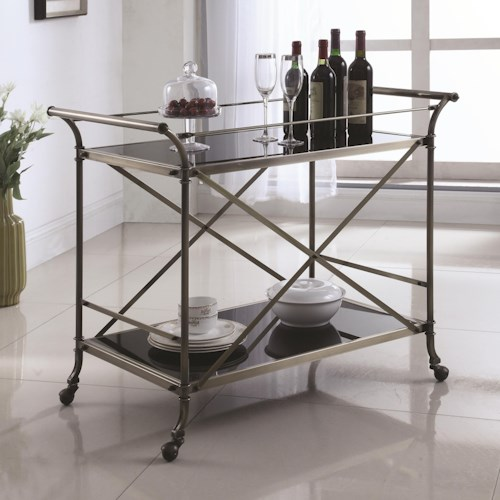 Coaster Kitchen Carts Metal Serving Cart with Glass Top