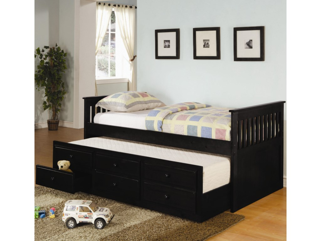 Captains Beds Black - Coaster la salle twin captain s bed with trundle and storage drawers dunk bright furniture captain s beds