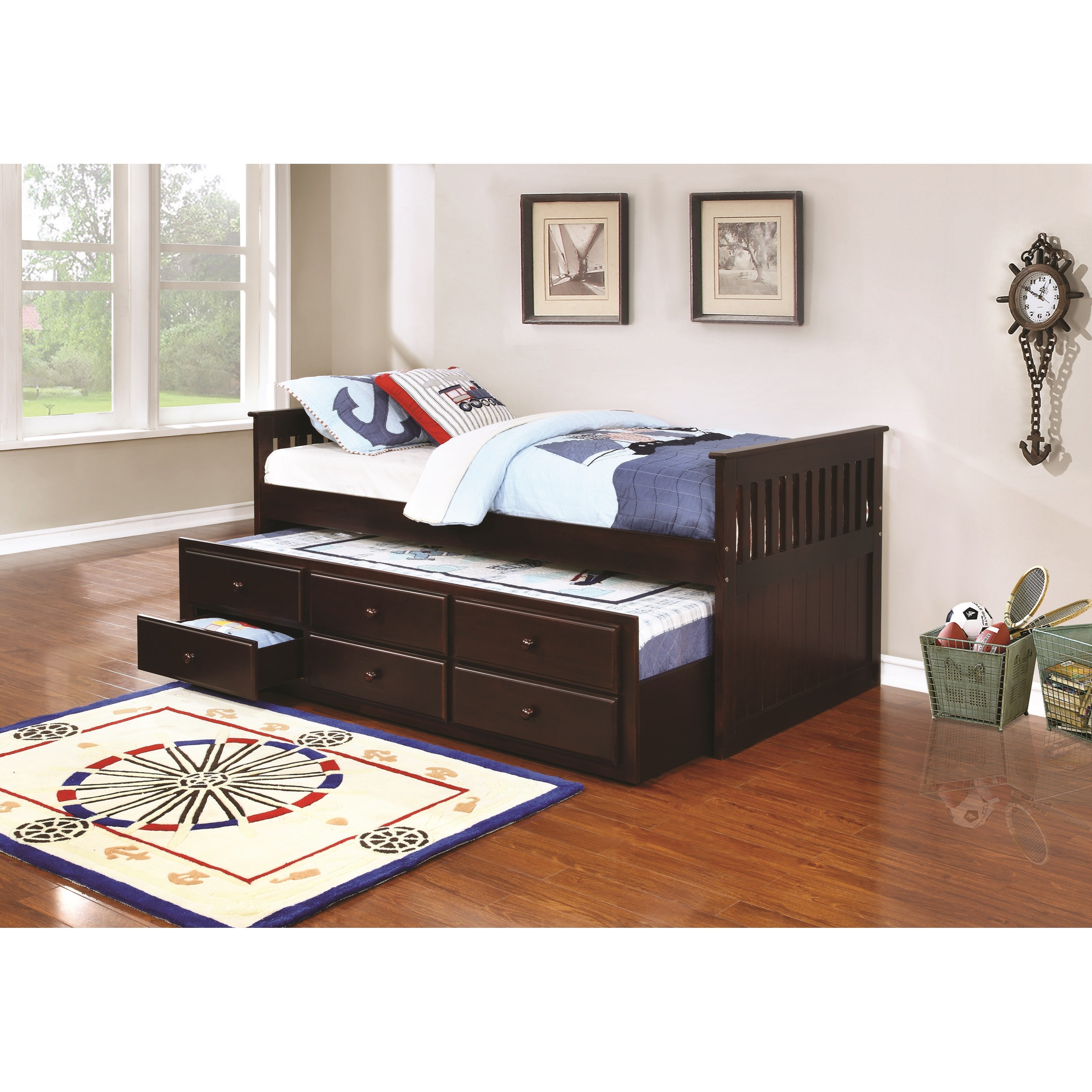 Coaster La Salle 300100 Twin Captainu0027s Bed With Trundle And Storage Drawers