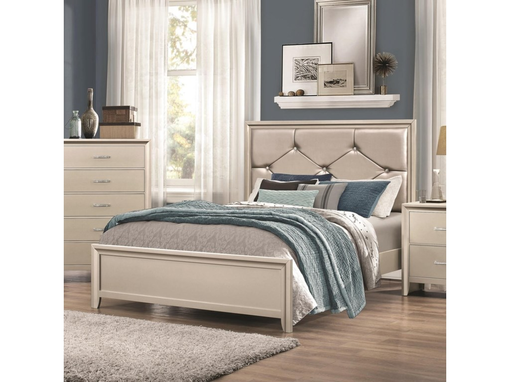 Coaster LanaQueen Bed with Upholstered Headboard