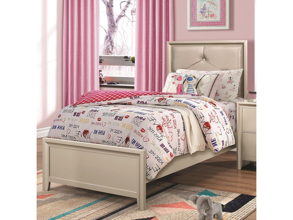 Lana twin bed with upholstered headboard by coaster