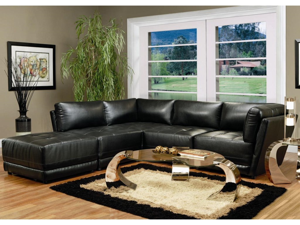 Coaster Kayson Contemporary Leather Sectional Sofa Michael S
