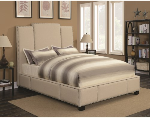 Coaster Lawndale California King Upholstered Bed in Beige Fabric