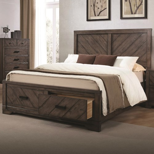 Coaster Lawndale Rustic California King Storage Bed