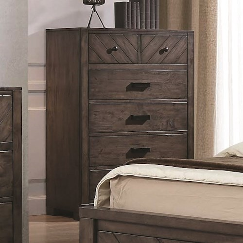 Coaster Lawndale 6 Drawer Rustic Chest w/ Felt-Lined Drawers