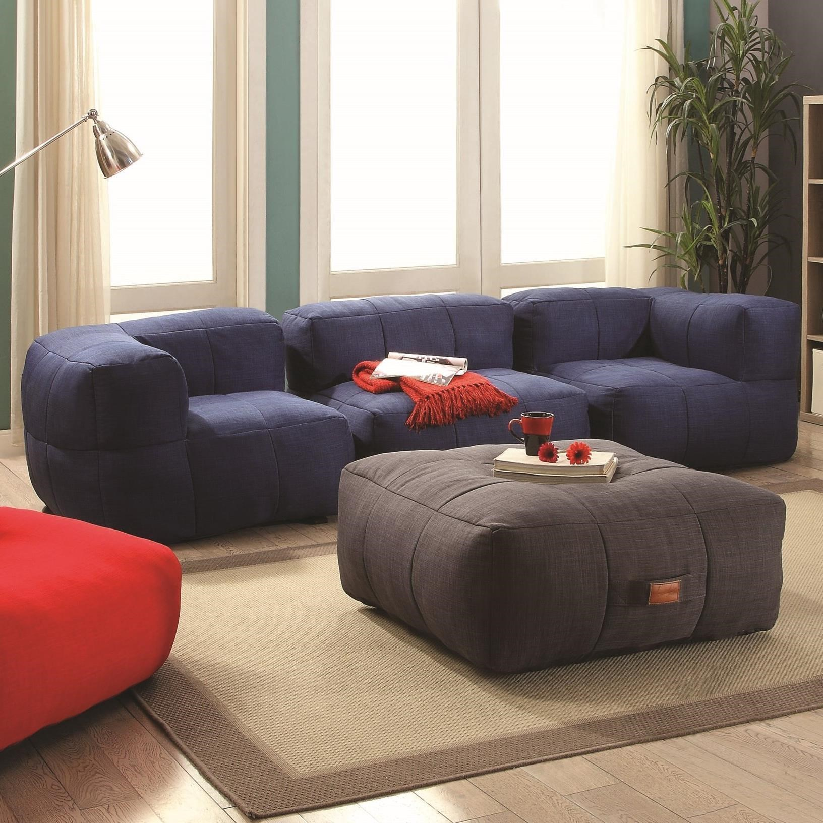 High Quality Coaster Lazy Life Bean Bag Sectional Group