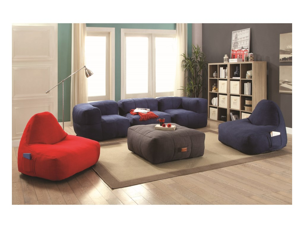 Lazy Life Bean Bag Sectional Group by Coaster - Coaster Lazy Life Bean Bag Sectional Group - Dunk & Bright