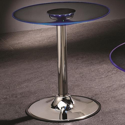 Coaster LED Transitioning LED End Table with Chrome Base