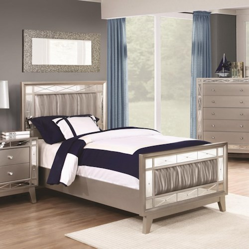 Coaster Leighton Twin Bed with Metallic Leatherette Upholstered Headboard