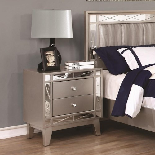Coaster Leighton 2 Drawer Nightstand with Mirrored Panel Accents