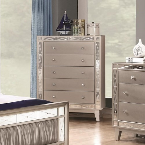Coaster Leighton 5 Drawer Chest with Crystal Finished Knob Hardware