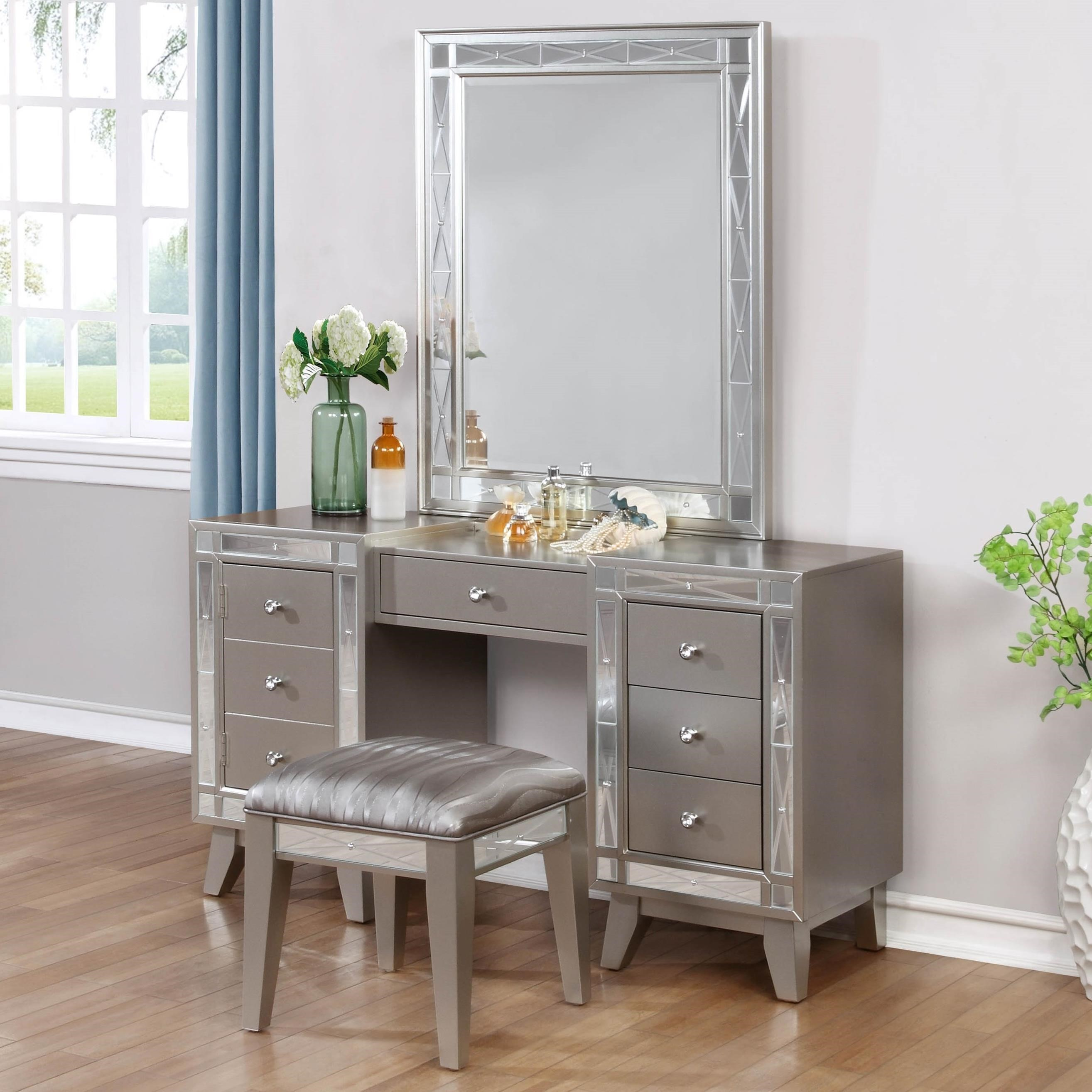 Leighton Glam Vanity Desk, Stool And Mirror Combo By Coaster