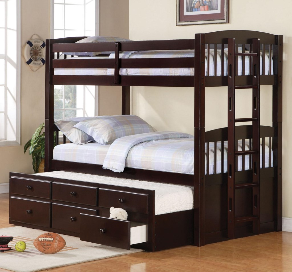 Coaster Logan Twin Over Twin Bunk Bed With Trundle Understorage